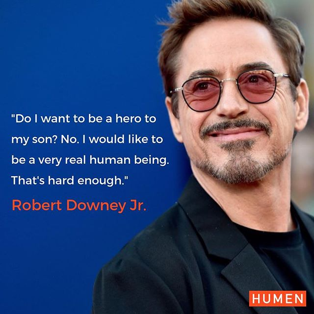 """@robertdowneyjr always keeps it very real and that doesn't change when he speaks about being a father to his son. It's clear that he cares about being a decent human being rather than an outdated idea of what a man 'should be', """"hero to me is not applicable to the human experience. I think that we all do heroic things, but hero is not a noun, it's a verb"""
